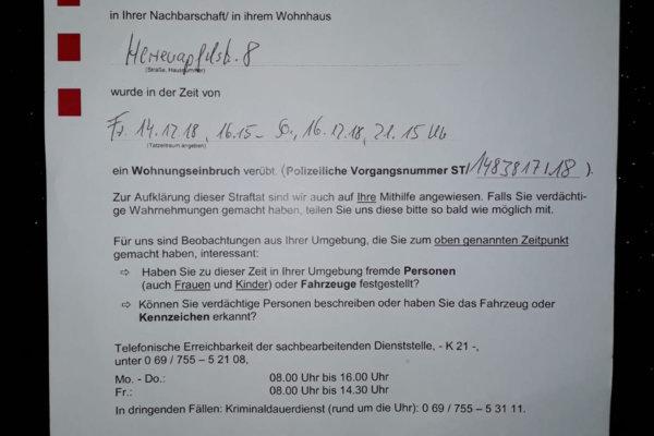 Einbruchsserie im Frankfurter Bogen