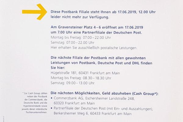 Info zur Schließung der Postbankfiliale